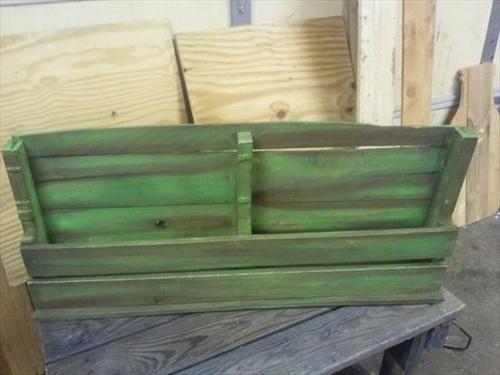 Distressed Green Pallet Shelf