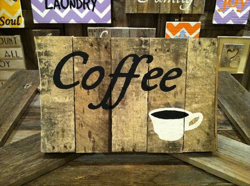 Weathered Pallet Coffee Sign