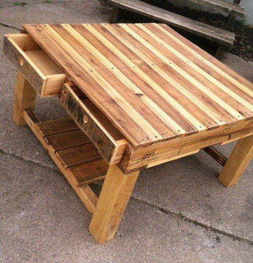 Wood Stained Pallet Desk with Storage