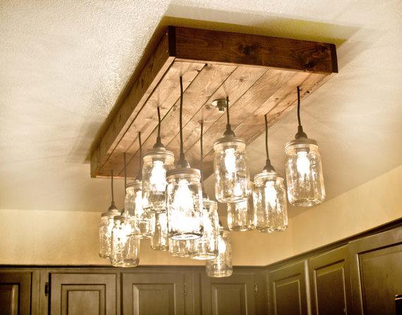 Mason Jar Wood Pallet Chandelier Idlights