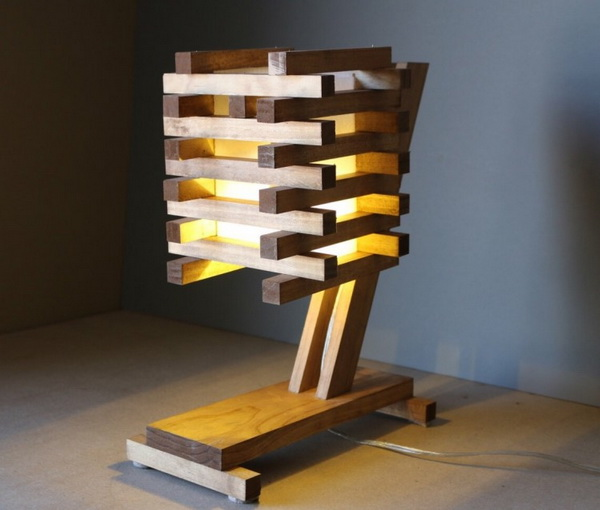 Wood Pallet Desk Lamp