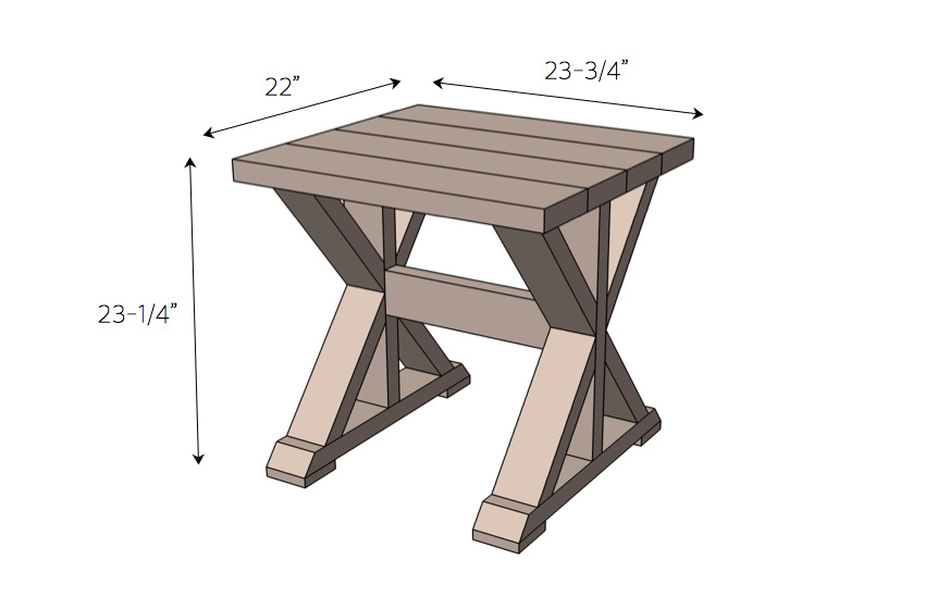 DIY Side Table for $20 Dimensions