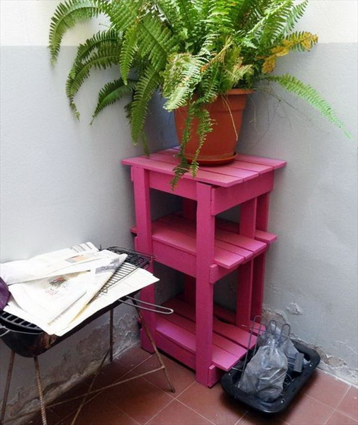 Tiered Pallet Pink Potting Table